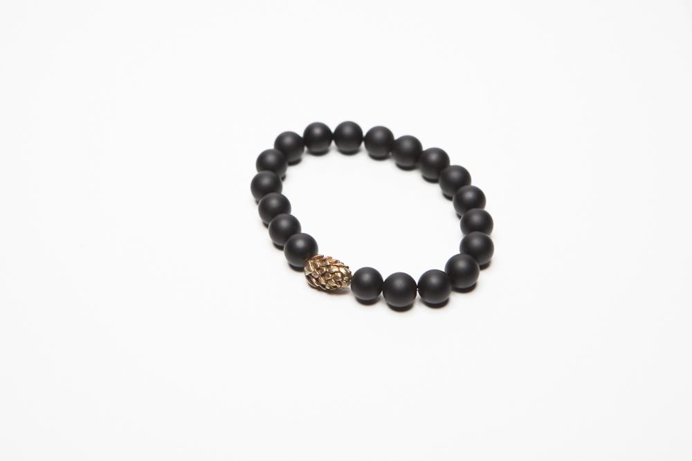 Hopster Beaded Bracelet Brass & Onyx (Large)